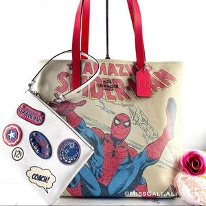 NWT COACH X MARVEL 2PC Spider-Man Tote Bag Gallery Pouch
